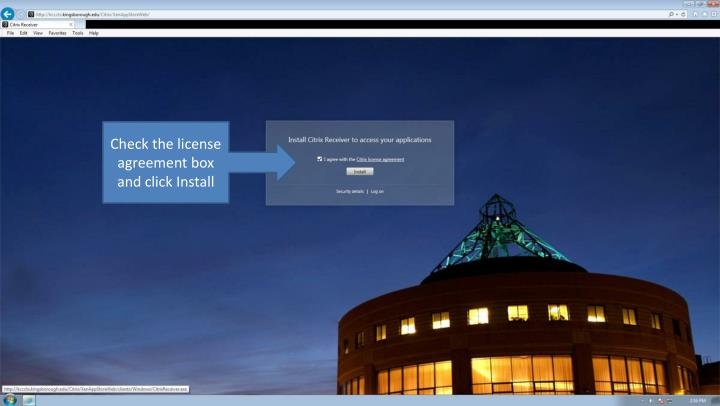 Check the license agreement box and click Install