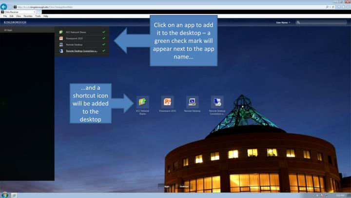Click on an app to add it to the desktop – a green check mark will appear next to the app name…