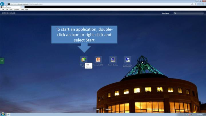 To start an application, double-click an icon or right-click and select Start