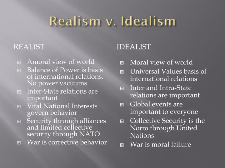 idealism vs realism essay Idealism vs realism: which is more prevalent in idealism and realism april 10, 2018, from.