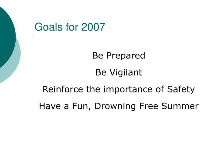 Goals for 2007