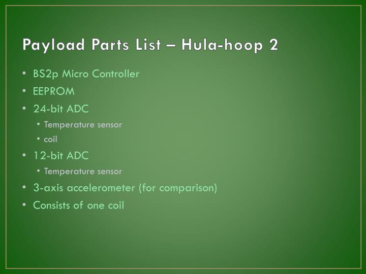 Payload Parts List – Hula-hoop 2