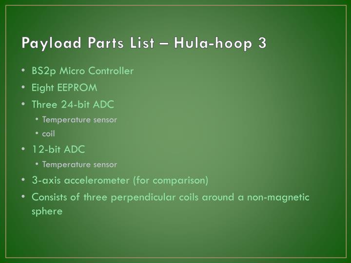 Payload Parts List – Hula-hoop 3