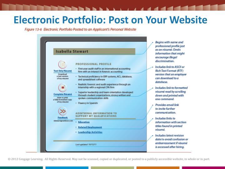 Electronic Portfolio: Post on Your Website