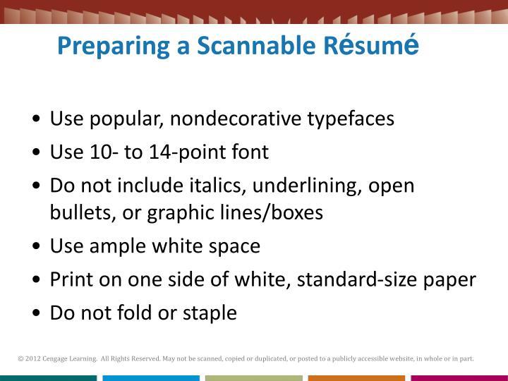 Preparing a Scannable R