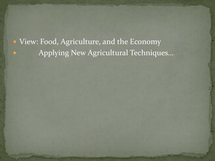 View: Food, Agriculture, and the Economy