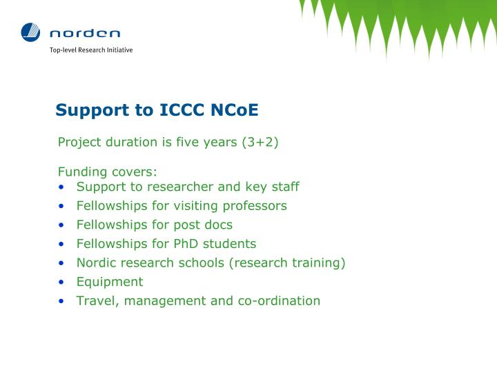 Support to ICCC NCoE