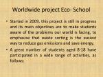 worldwide project eco school