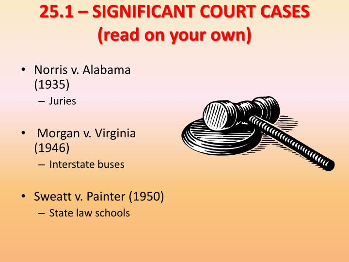 25.1 – SIGNIFICANT COURT CASES