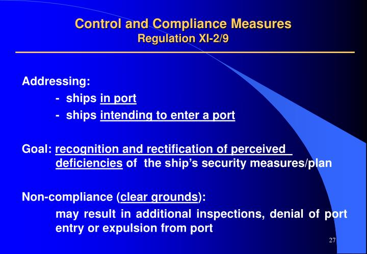 Control and Compliance Measures