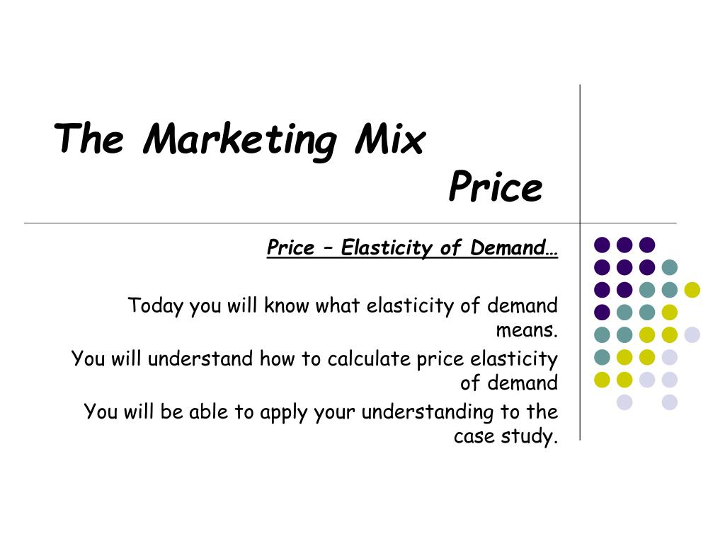 role of price in marketing mix ppt
