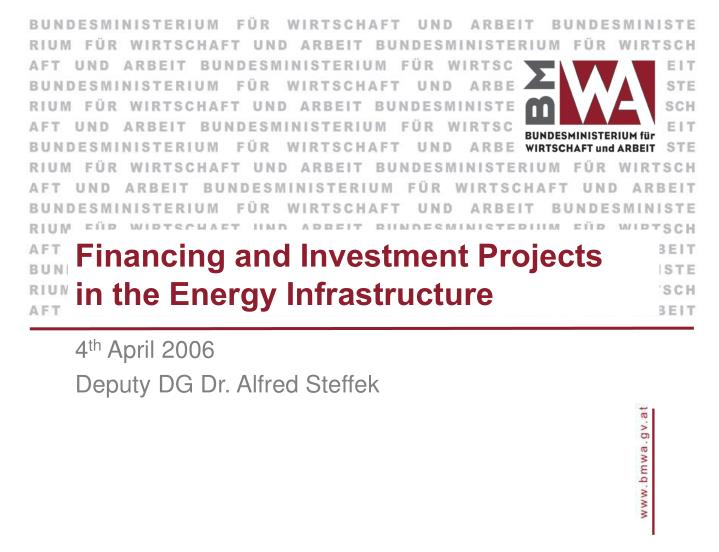 financing and investment projects in the energy infrastructure n.