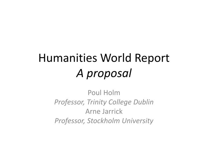 humanities world report a proposal n.