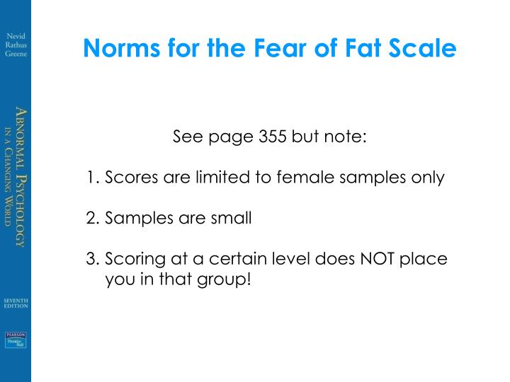 Norms for the Fear of Fat Scale