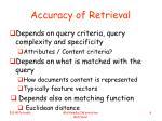 accuracy of retrieval