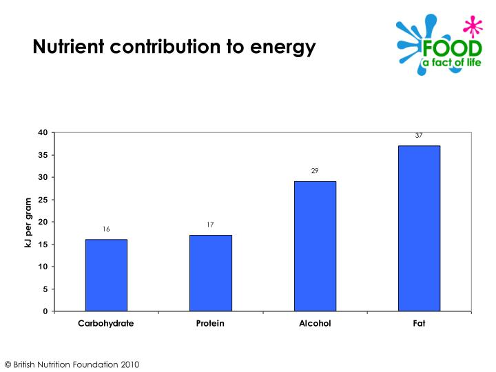 Nutrient contribution to energy