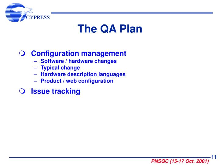 The QA Plan