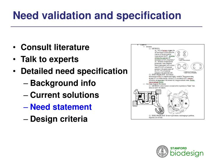 Need validation and specification