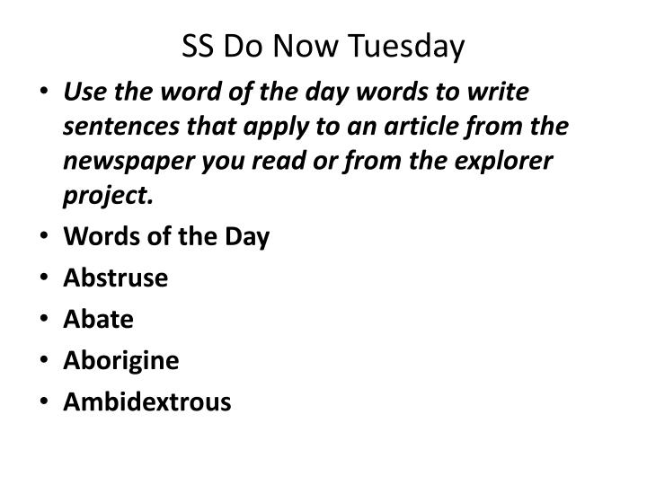 SS Do Now Tuesday