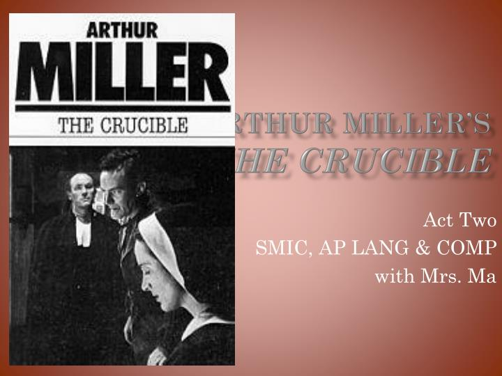 notes on the crucible arthur miller When arthur miller published the crucible in the early 1950s the students will also read a summary of the historical events in salem and study a timeline.