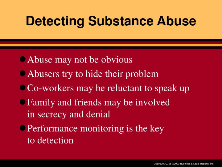 Detecting Substance Abuse