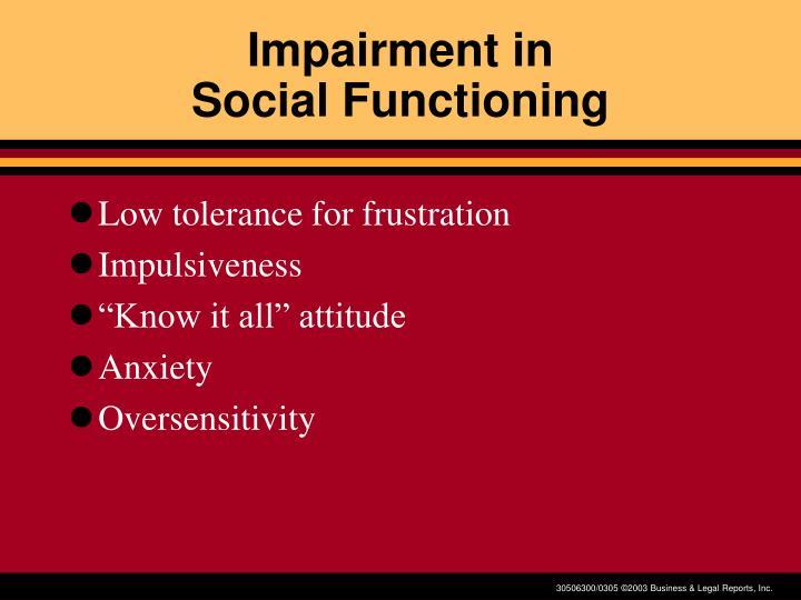 Impairment in