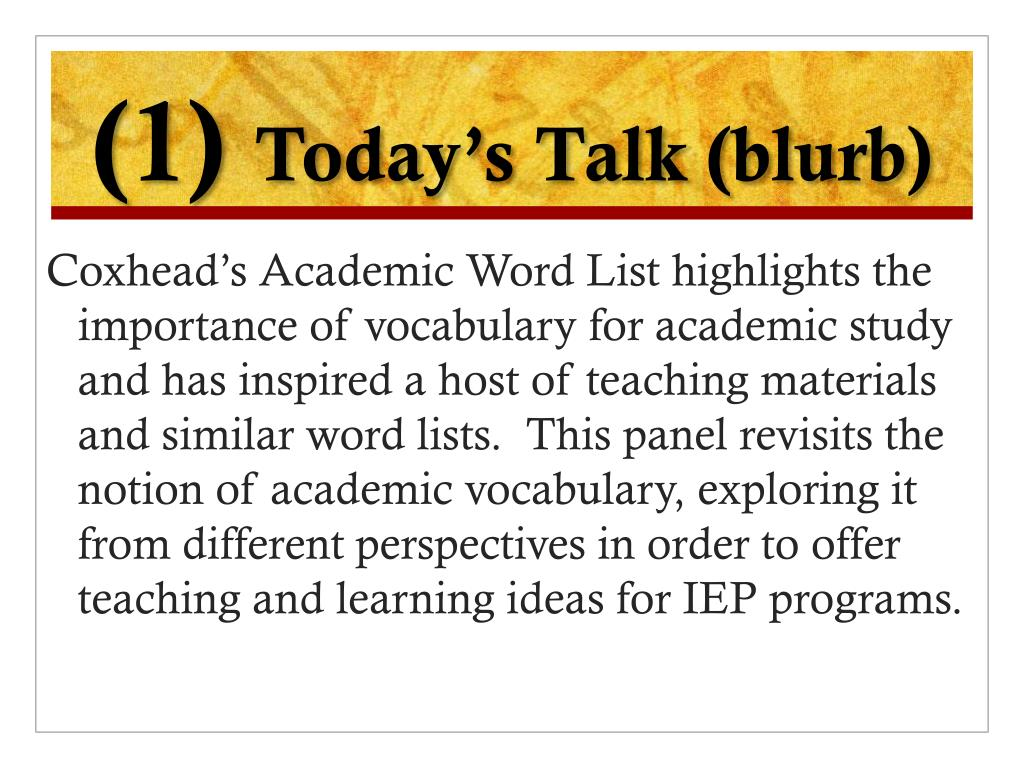 PPT - Perspectives on Teaching and Learning Academic Vocabulary