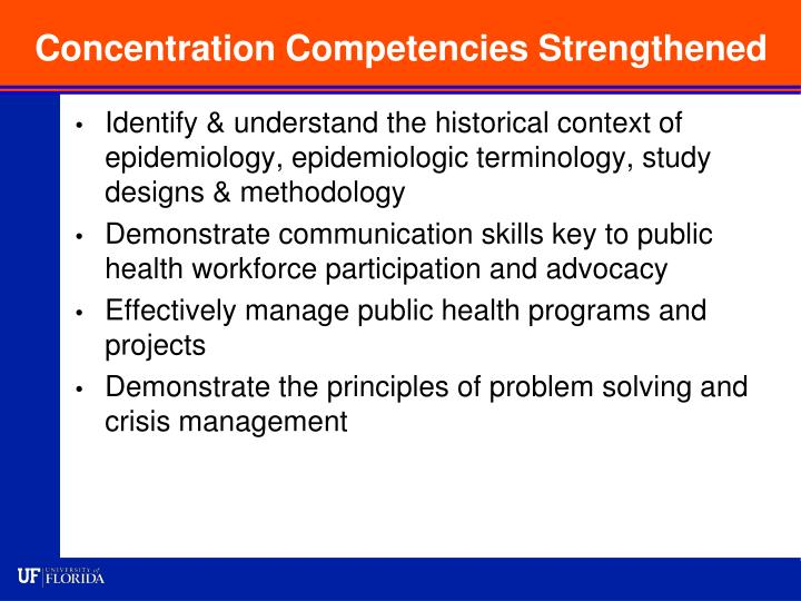 Concentration Competencies Strengthened