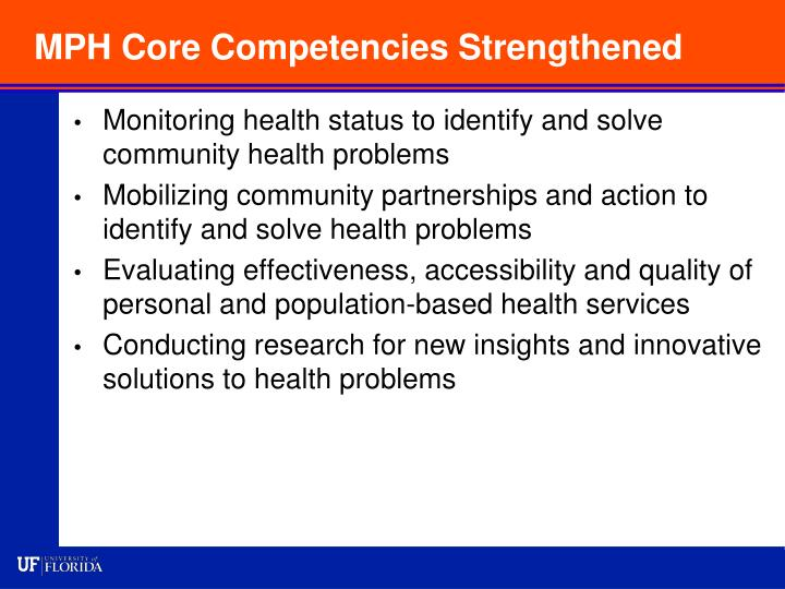 MPH Core Competencies Strengthened
