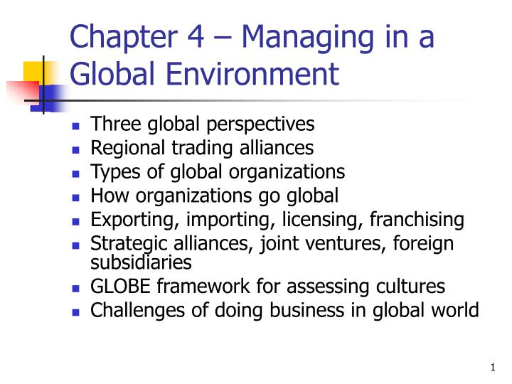 chapter 4 managing in a global environment n.