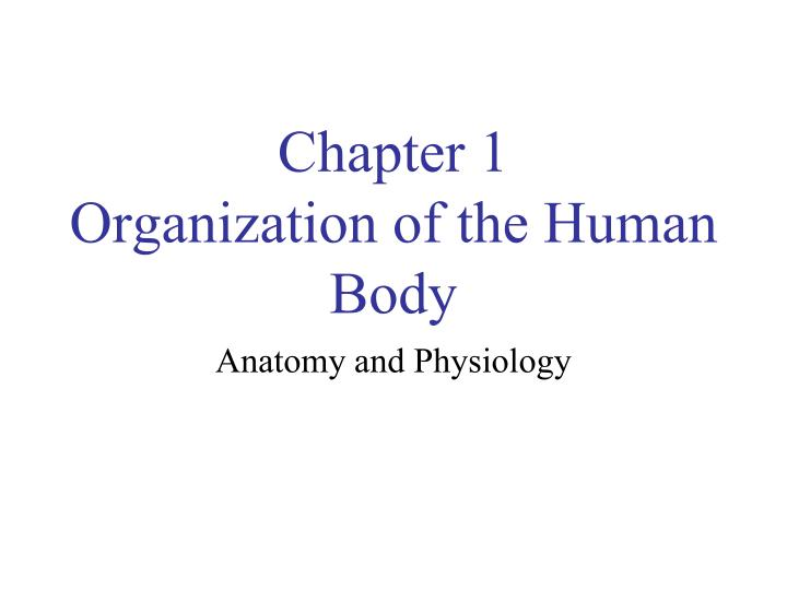 Ppt Chapter 1 Organization Of The Human Body Powerpoint