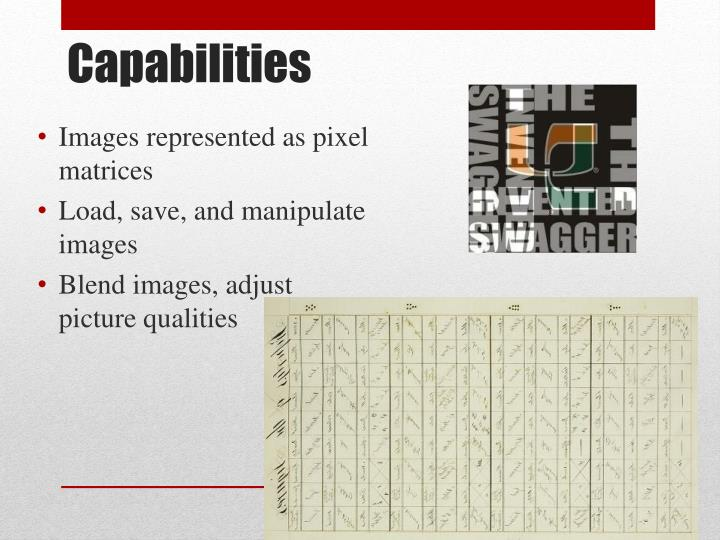 Images represented as pixel matrices