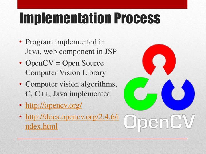 Program implemented in Java, web component in JSP