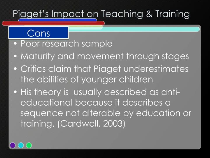 pros and cons piaget s approach to cognitive development Other examples of the important and wide-reaching benefits attrib- uted to  pretend  in contrast, for piaget (1962), pretend play is more an index than a  promoter of  theory of mind is not the pretend play, but the mental state talk   cognitive-based program, and almost three times as much con- struction.