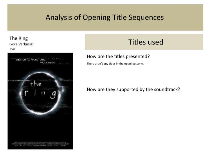 analysis of the opening sequence of the Analysis of the opening sequence of clueless the film clueless, written and directed by amy heckerling in 1995, is an adaptation of jane austen's early 19th century novel emma.