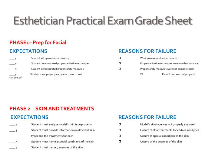 Esthetician Practical Exam Grade Sheet