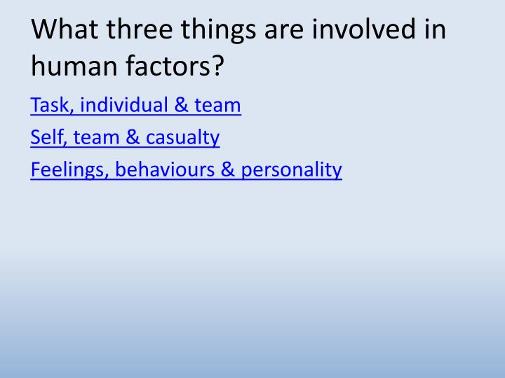 What three things are involved in human factors?