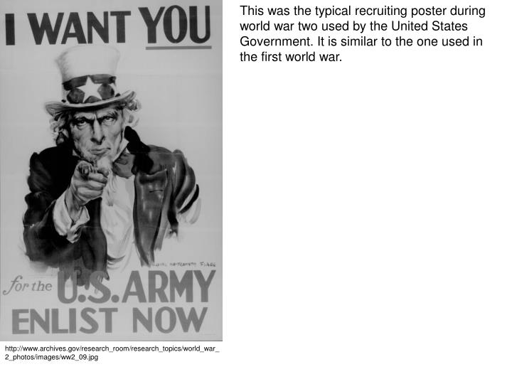This was the typical recruiting poster during world war two used by the United States Government. It is similar to the one used in the first world war.