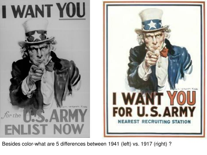 Besides color-what are 5 differences between 1941 (left) vs. 1917 (right) ?