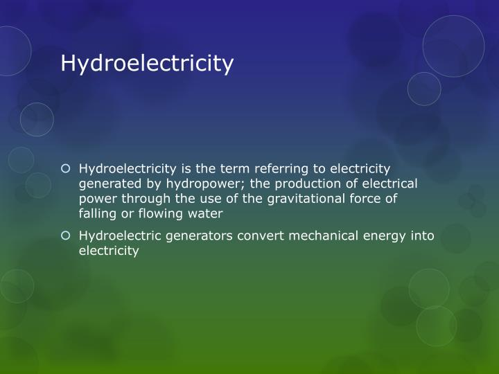 Hydroelectricity