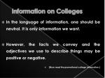 information on colleges