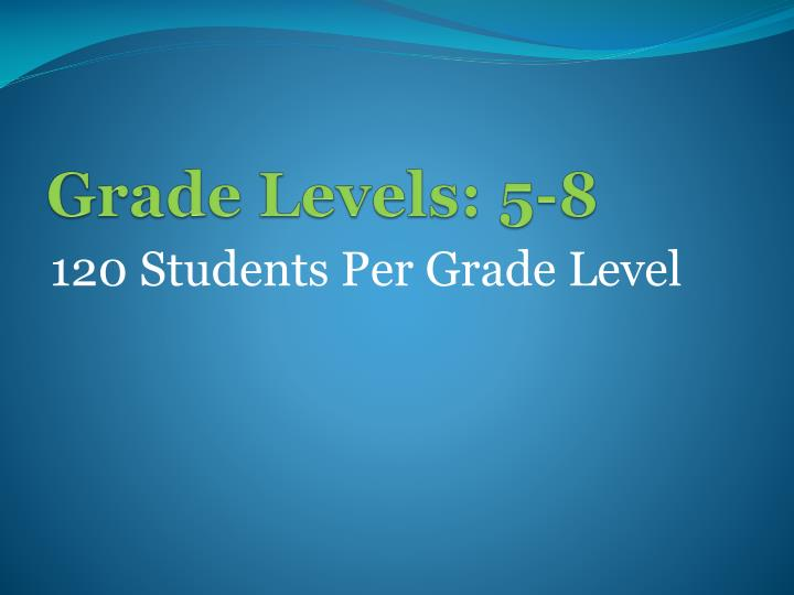 Grade levels 5 8