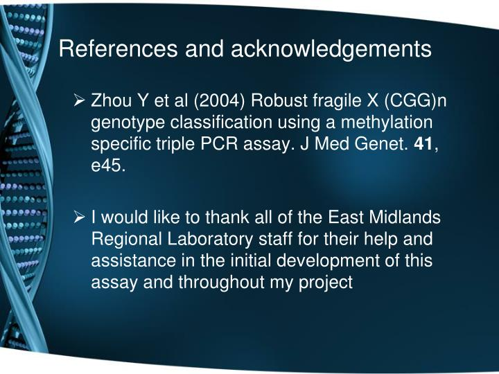 References and acknowledgements