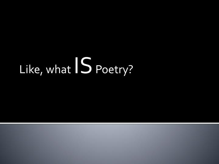 like what is poetry n.