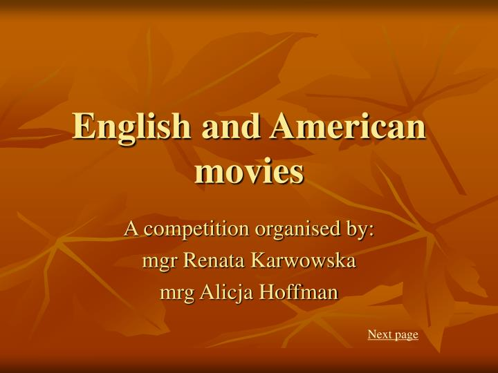 english and american movies n.