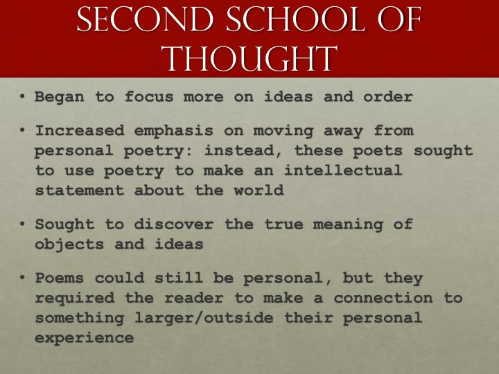 Second school of thought