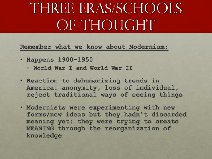 Three eras schools of thought