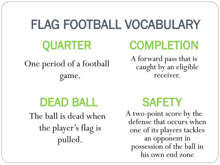 FLAG FOOTBALL VOCABULARY