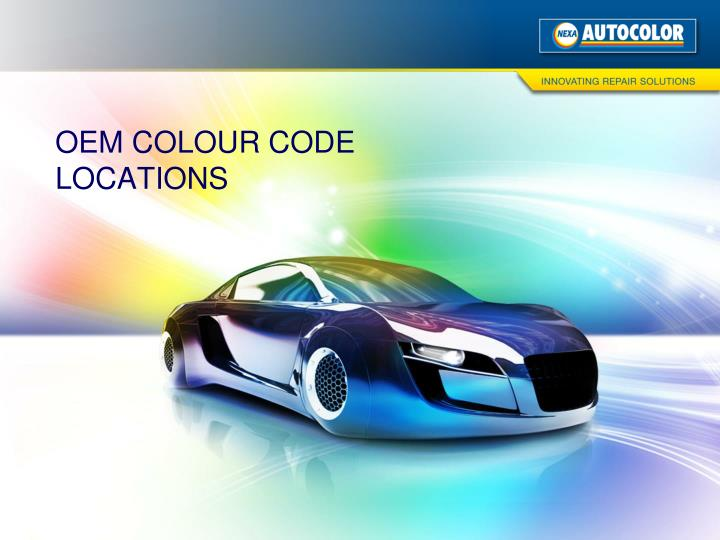 OEM COLOUR CODE LOCATIONS