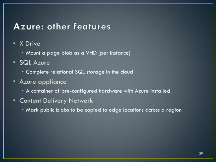 Azure: other features